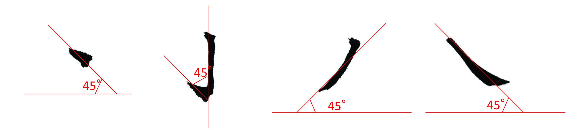 ナナメの角度は原則45度