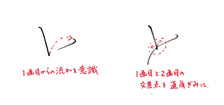 「と」2画目のコツ(前半)