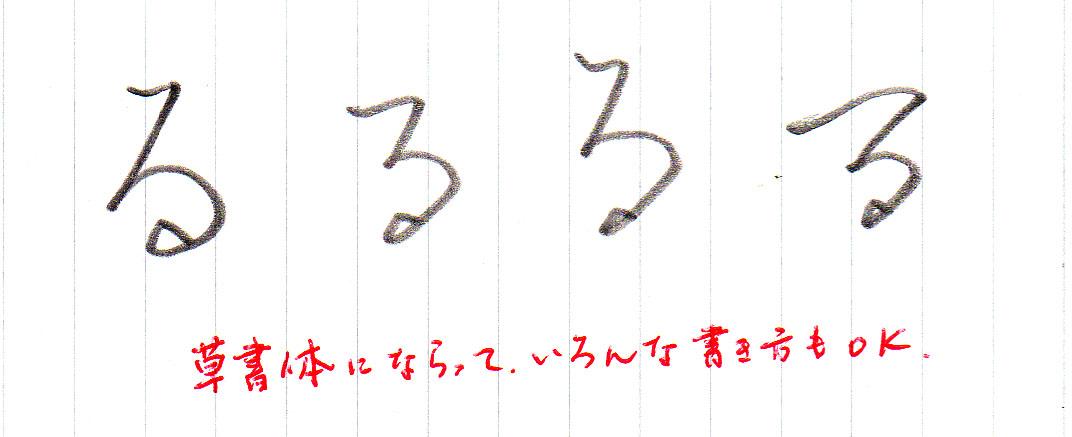 「る」いろいろな書き方