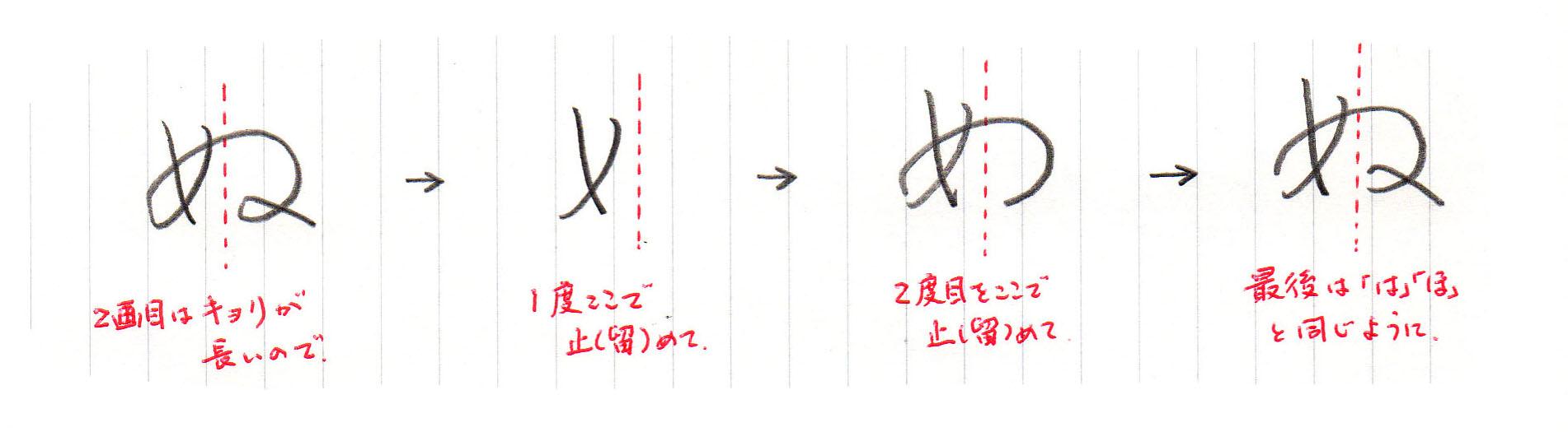「ぬ」2画目の書き方