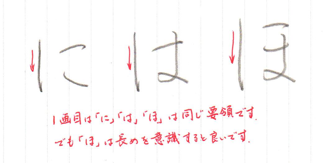 「ほ」1画目の書き方