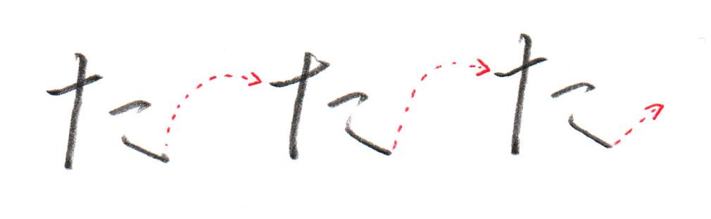「た」ヨコ書き