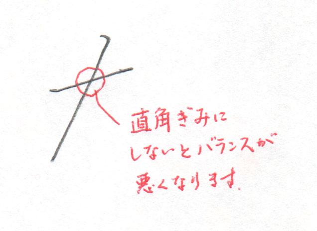 「た」1画目2画目の交差点2
