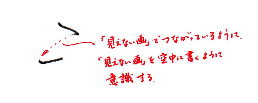 1→2画目への「見えない画」を意識