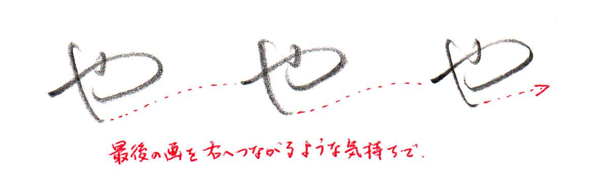 「や」ヨコ書き2