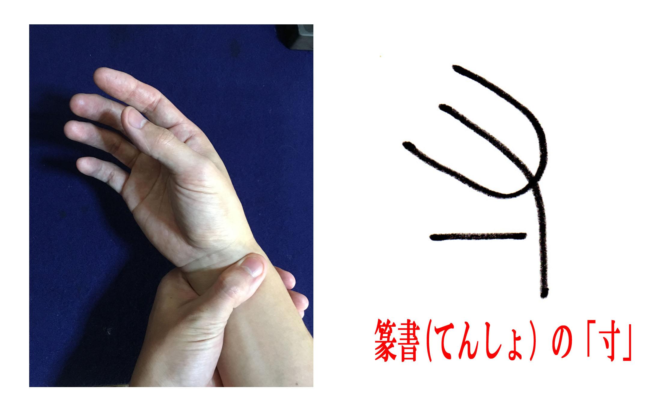脈をはかる手の形